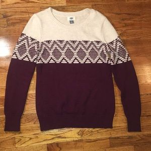 Old Navy cream and plum festive sweater